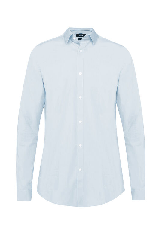 Heren slim fit overhemd met stretch Pastelblauw