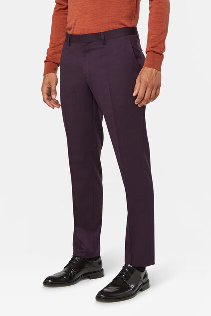 Heren regular fit pantalon Tom Donkerpaars