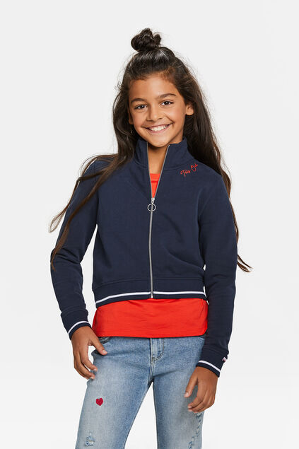 Meisjes cropped bombervest Donkerblauw