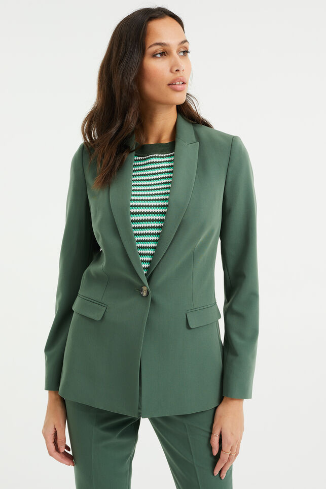 Dames regular fit blazer met stretch Mosgroen
