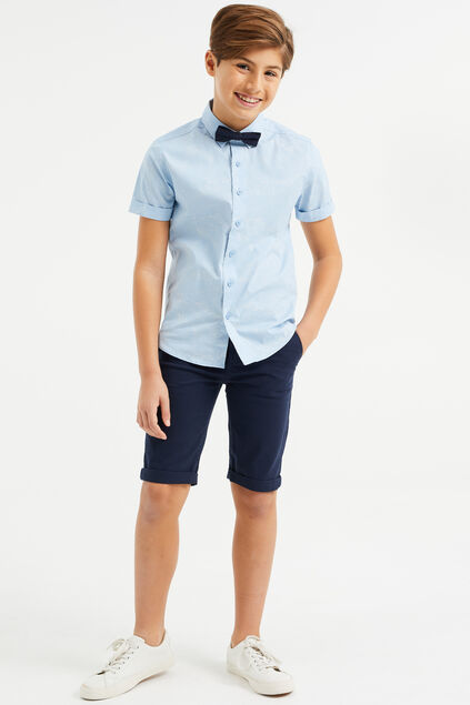 Jongens skinny fit chino short Marineblauw