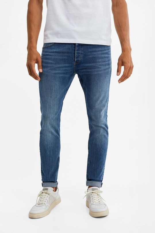 Heren skinny fit jeans met super stretch Blauw