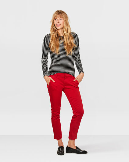 DAMES SLIM CROPPED CHINO Rood
