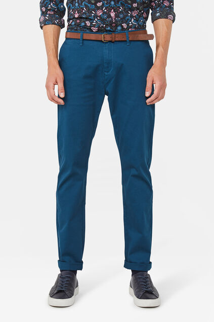 Heren skinny fit effen chino Blauw