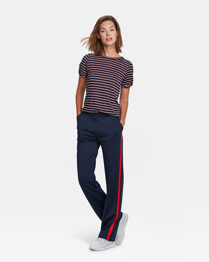 DAMES SPORTY STRIPE WIDE LEG PANTALON Marineblauw