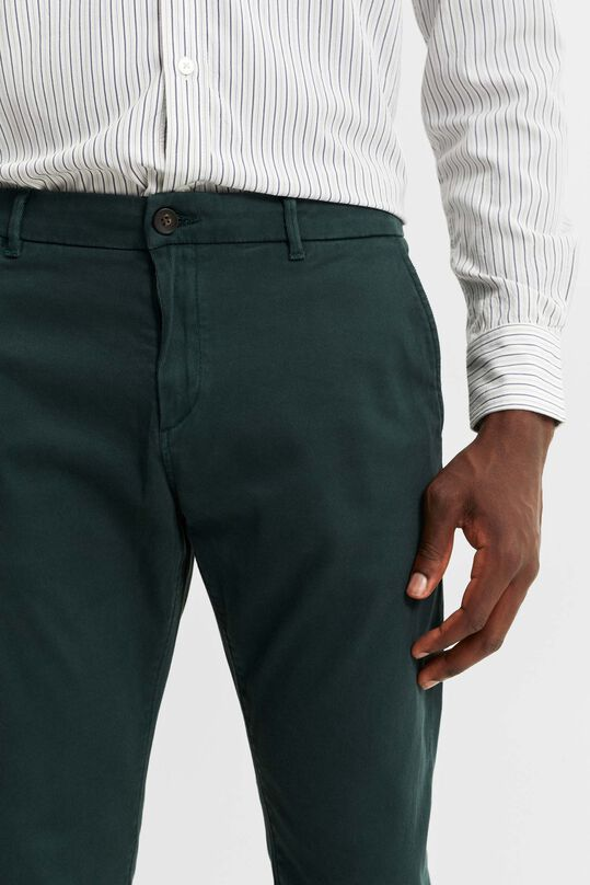 Heren slim tapered chino met ribstructuur Mosgroen