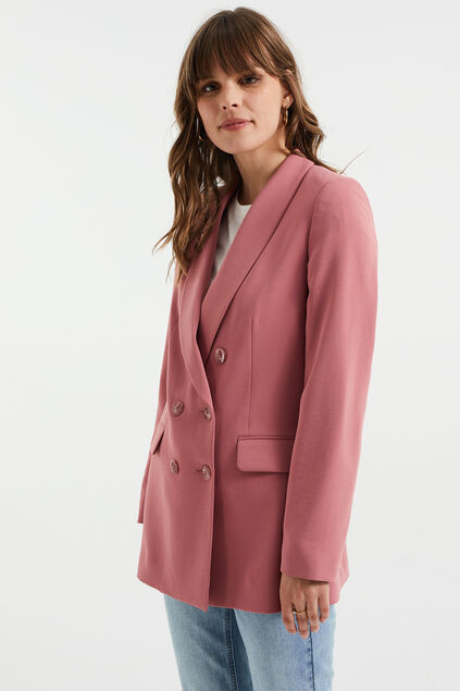 Dames regular fit double breasted blazer Oudroze