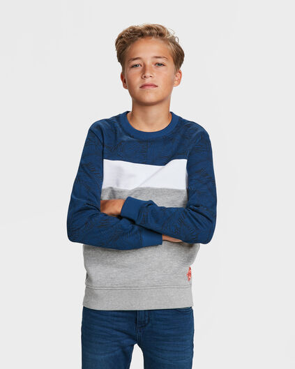 JONGENS COLOURBLOCK SWEATER Donkerblauw