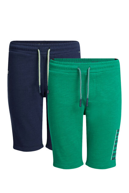 Jongens slim fit joggingshort, 2-pack Groen
