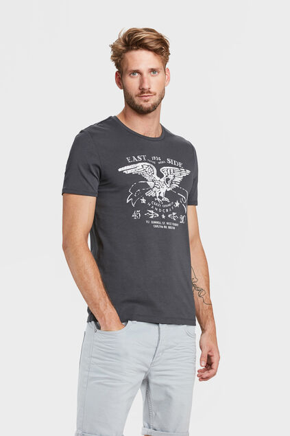 HEREN EAST SIDE PRINT T-SHIRT Antraciet