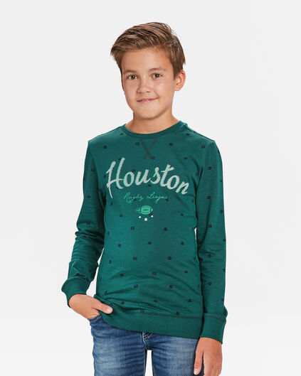 JONGENS HOUSTON PRINT T-SHIRT Donkergroen