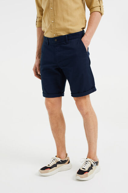 Heren regular fit chinoshort Donkerblauw