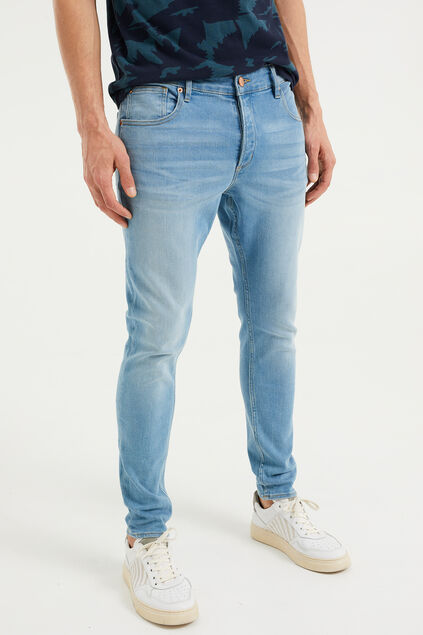 Heren skinny fit jeans van jog denim Blauw
