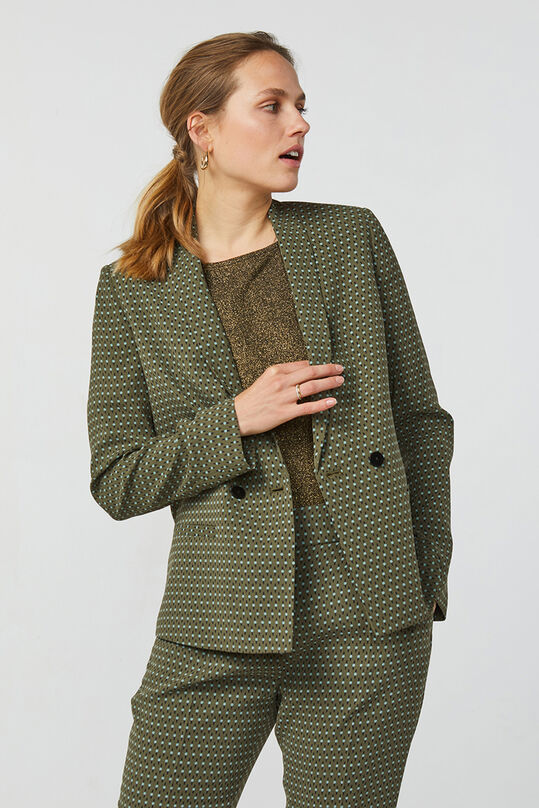 Dames double breasted dessin blazer Khaki