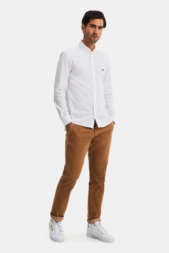 Heren slim fit chino met corduroy Beige