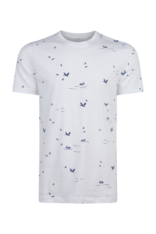 Heren vogelprint T-shirt Wit