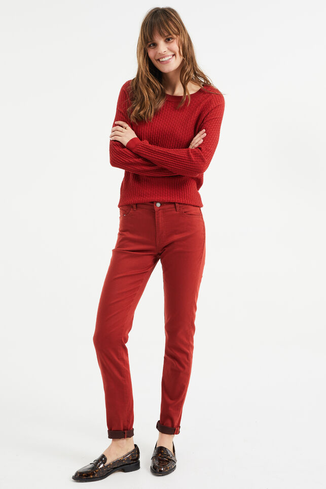 Dames mid rise skinny jeans met stretch Rood