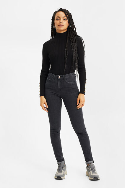 Dames high rise skinny jeans met comfort stretch Donkergrijs