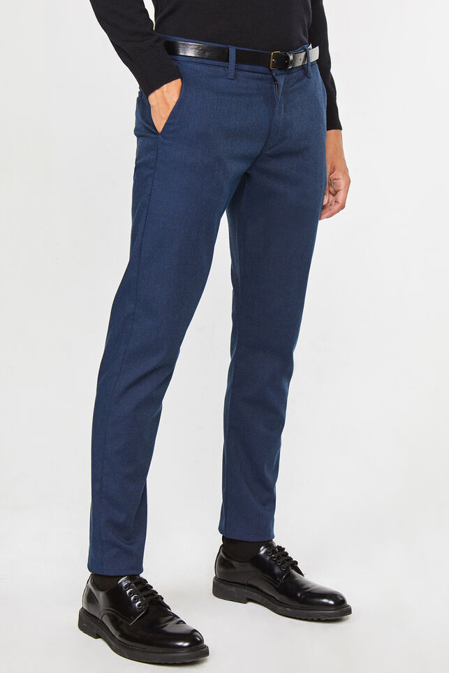 Heren slim tapered gemêleerde chino Donkerblauw