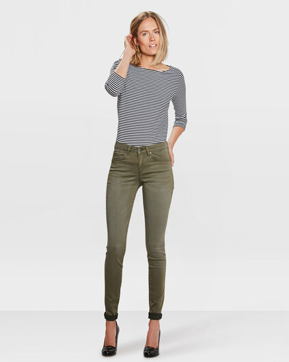 DAMES MID RISE SUPER SKINNY HIGH STRETCH BROEK Olijfgroen