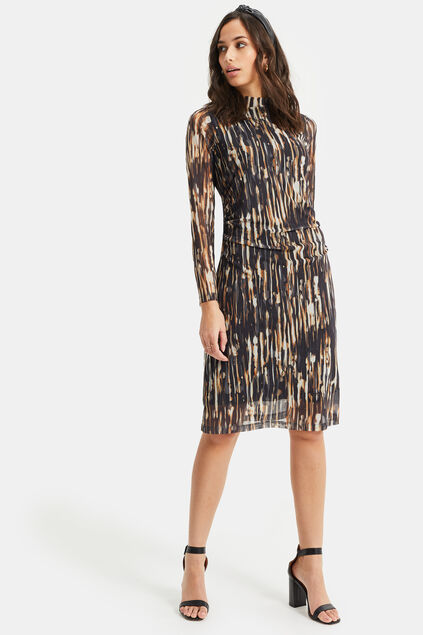 Dames meshjurk met dessin All-over print