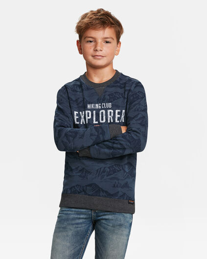 JONGENS EXPLORER PRINT SWEATER Marineblauw