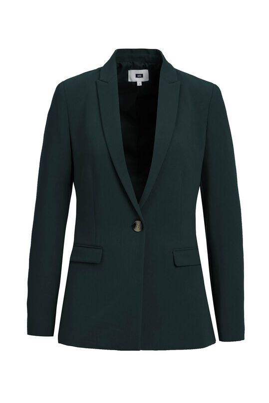 Dames regular fit blazer met stretch Donkergroen