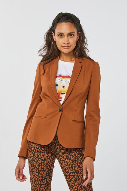 Dames regular fit blazer Kaneelbruin