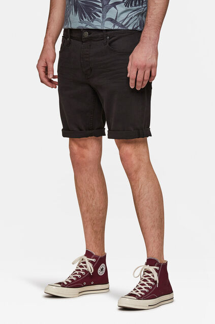 Heren regular fit denim short Zwart