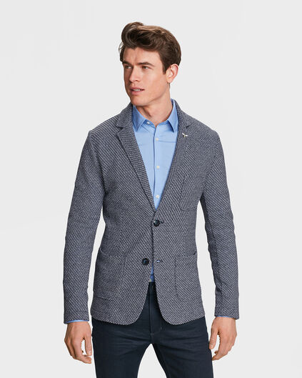 HEREN SLIM FIT GROF GEWEVEN BLAZER SABAS Marineblauw