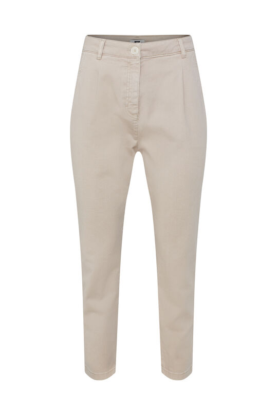 Dames high waist broek met tapered leg Beige