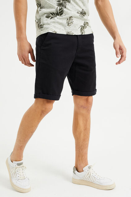 Heren slim fit chinoshort met stretch Zwart