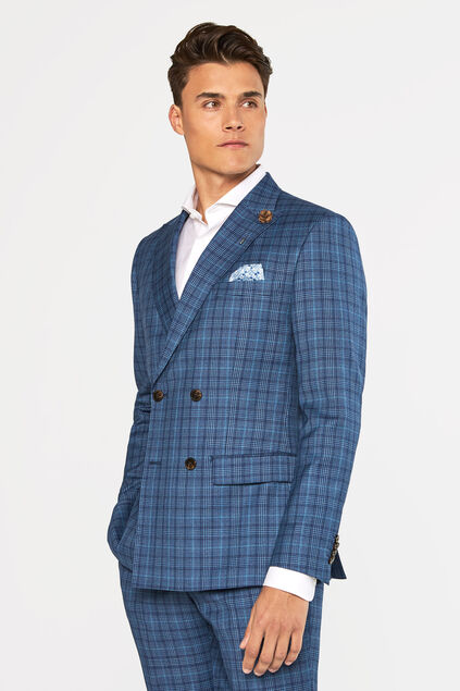 Heren slim fit geruite double breasted blazer, Kelso All-over print