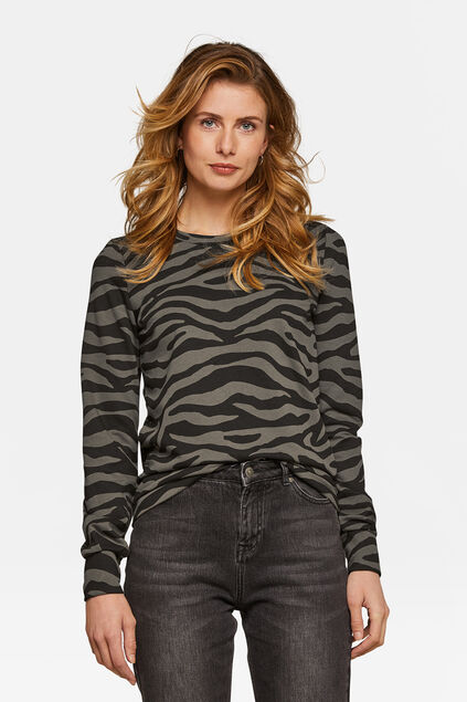 Dames zebraprint sweater Khaki