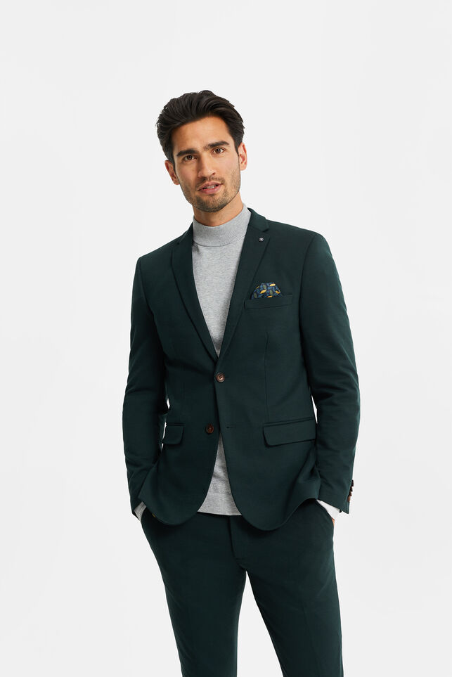 Heren slim fit blazer met stretch, Dali Groen