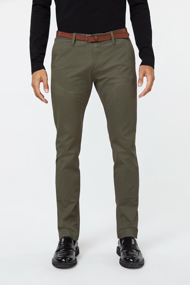 Heren skinny fit chino met print Groen