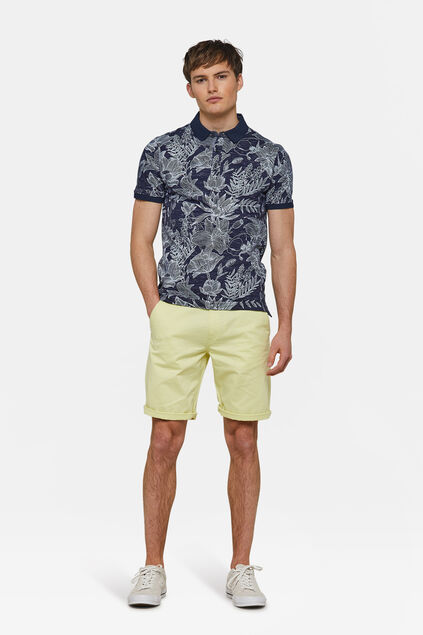 Heren regular fit chino short Lichtgeel