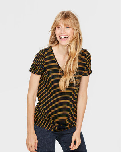 DAMES LYOCELL STRIPE V-NECK T-SHIRT Zwart