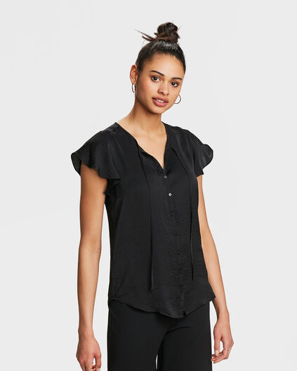 DAMES STRIK DETAIL TOP Zwart