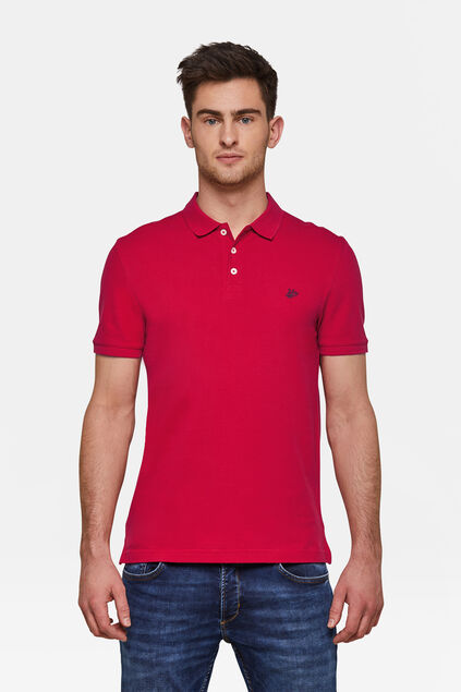 Heren organic cotton pique polo Fuchsia