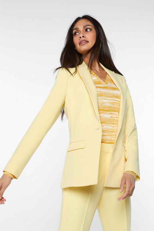 Dames regular fit blazer Lichtgeel