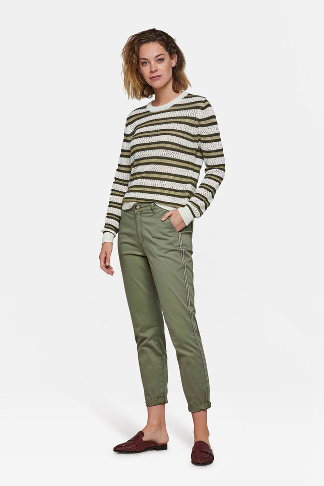 Dames slim tapered chino Groen