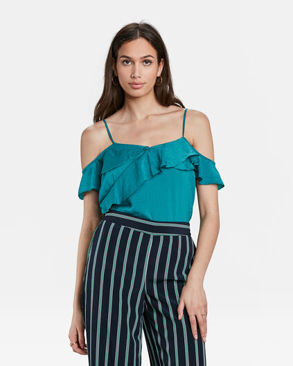 DAMES RUFFLE DETAIL TOP Groen