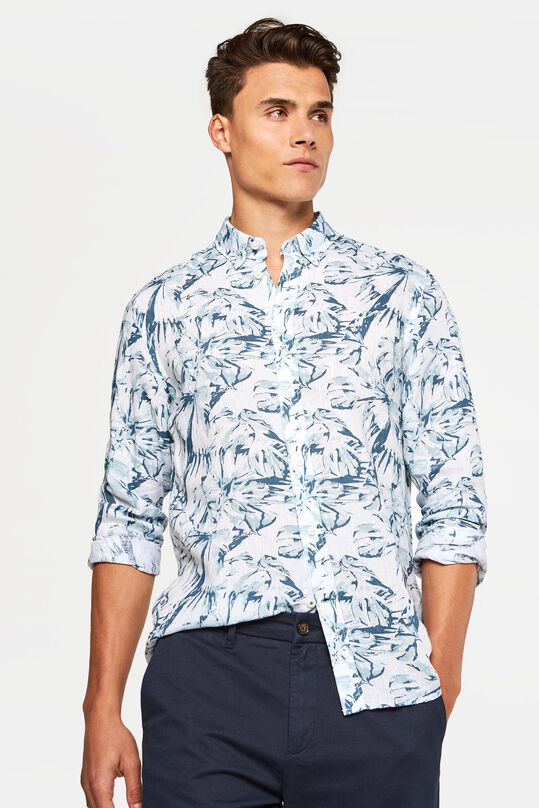 Heren slim fit overhemd van 100% linnen All-over print