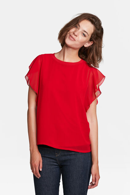 DAMES RUFFLE DETAIL TOP Felrood