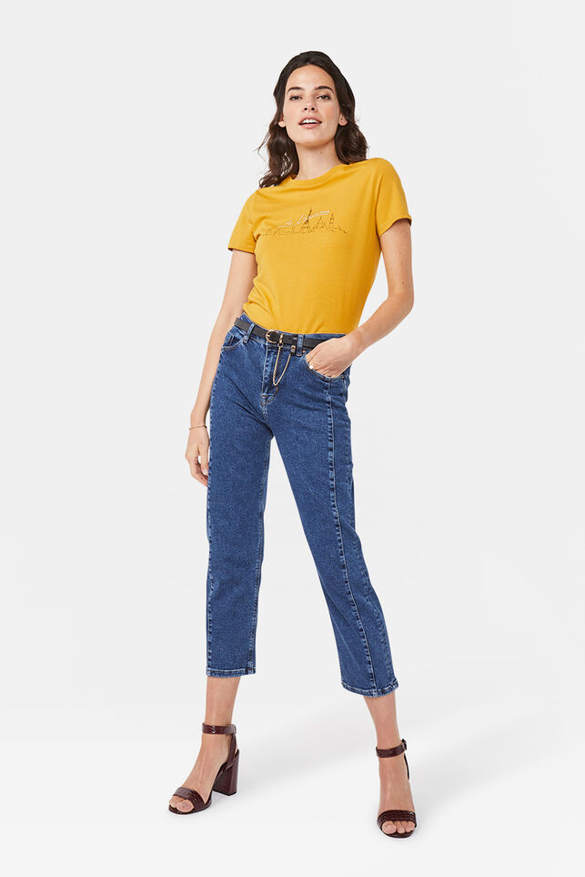 Dames mid rise straight leg jeans Donkerblauw
