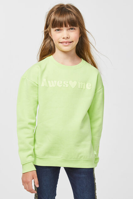 Meisjes awesome print sweater Felgeel