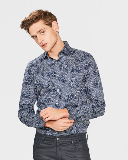 HEREN SLIM FIT PRINTED OVERHEMD Marineblauw