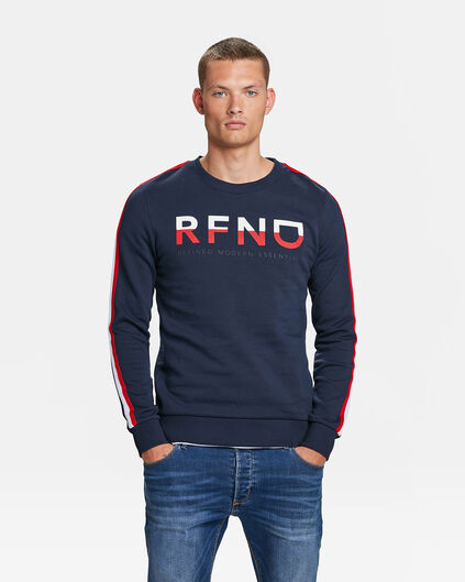 HEREN LOGO PRINT SWEATER Marineblauw