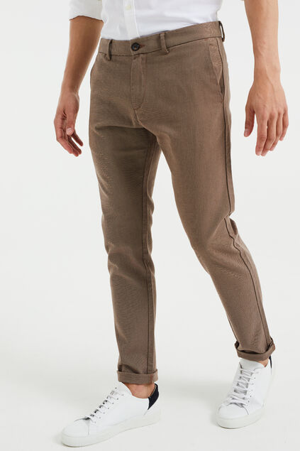 Heren Oxford chino met stretch Bruin
